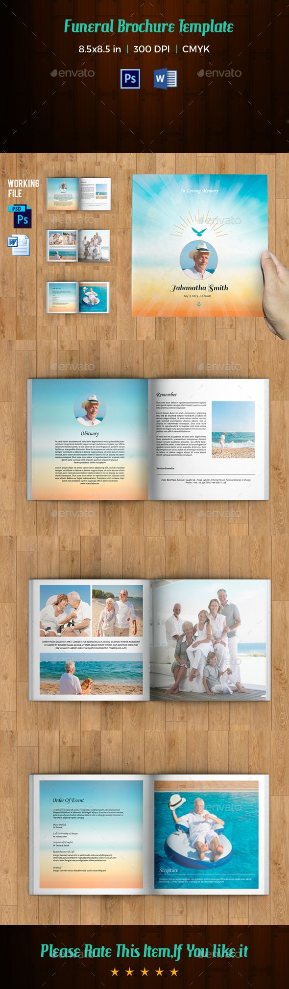 funeral program template 8 page square booklet photoshop psd