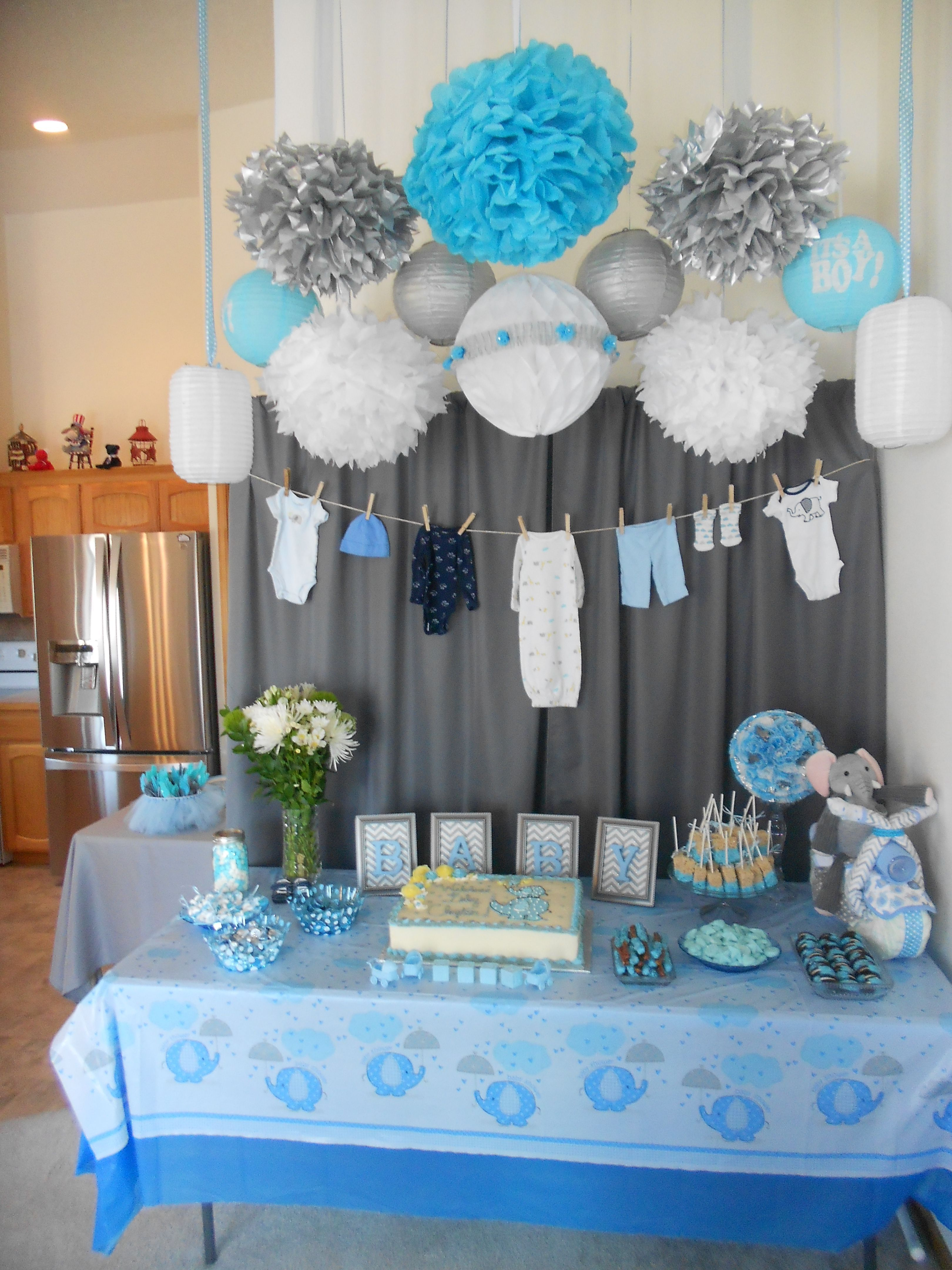 Pin By Cassie Nelson On Hope S Baby Shower Ideas In 2020 Baby Shower Decorations For Boys Simple Baby Shower Baby Shower Diy