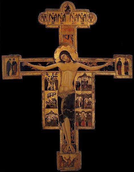 crocifisso ligneo a due facce - Croce dipinta del cosiddetto Maestro bizantino del Crocifisso di Pisa, inizio del XIII secolo -.Museo Nazionale di San Matteo (Pisa).Cerca con Google