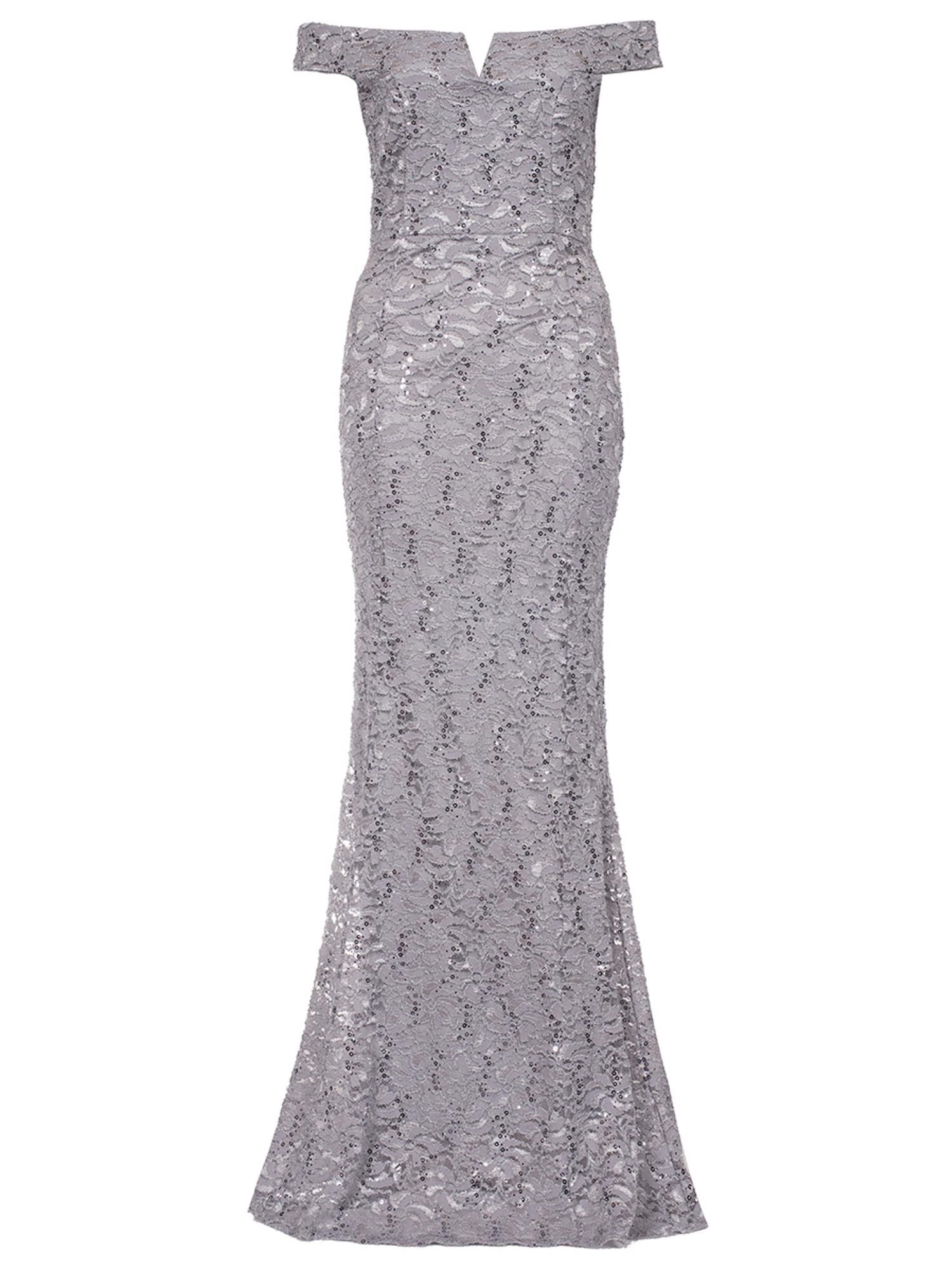 0a9b385a Take a closer look at the Quiz Silver Grey Sequin Bardot Fishtail Dress at  House of Fraser - your premium department store of choice.