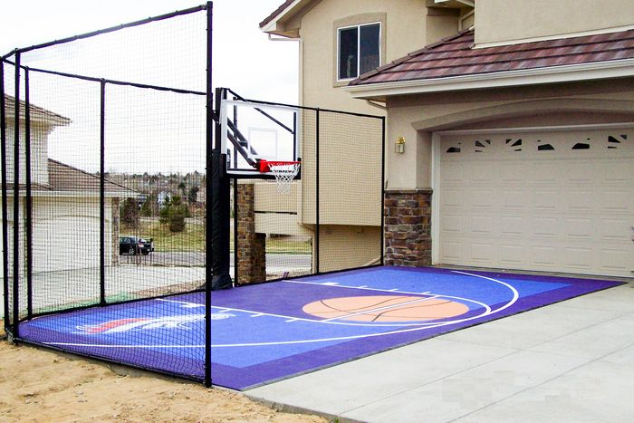 Fitting A Home Basketball Court In Your Backyard Sport Court Basketball Court Backyard Home Basketball Court Backyard Basketball