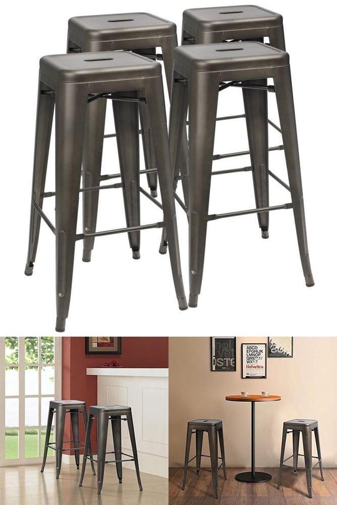"icymi square metal 30"" bar stools set of 4 sturdy"