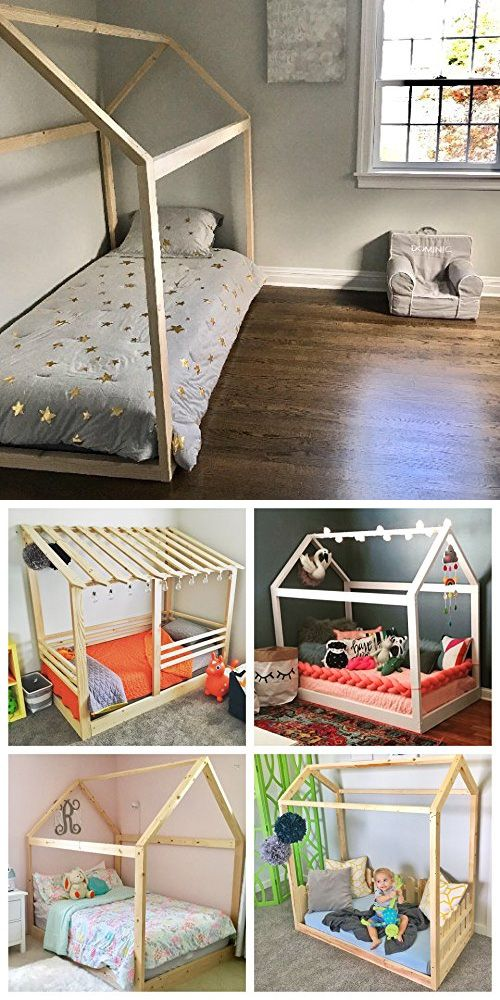 Twin House Bed Frame 48x48 Wood Pieces Creative Kids' Room Simple House Of Bedrooms For Kids Creative Decoration