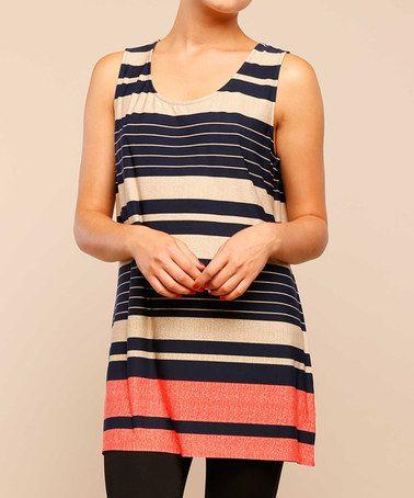 Love this Navy & Coral Stripe Sleeveless Tunic on #zulily! #zulilyfinds