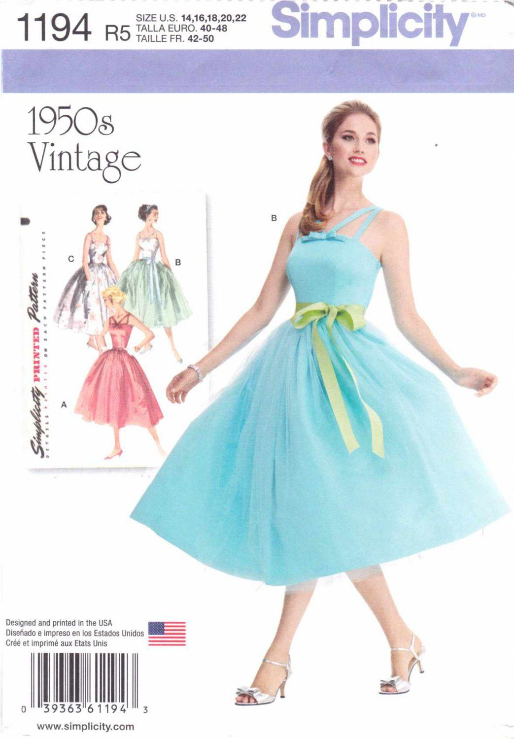 Simplicity Sewing Pattern 1194 Misses Sizes 14-22 Vintage Style ...