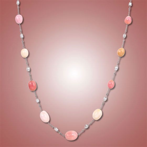Conch Pearl Necklace: Conch Pearl And Diamond Strand