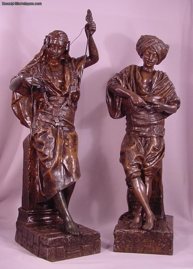 2 Antique Signed L. Hottot Bronze Patina Zinc Orientalist Sculptures Man & Woman #Realism #LouisHottot