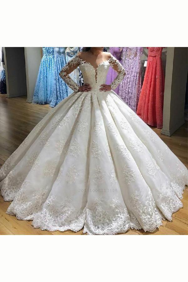 50818fbdea76 Wedding Dress Ball Gown #WeddingDressBallGown, Wedding Dresses # WeddingDresses, Lace Wedding Dress #LaceWeddingDress, Wedding Dress With  Sleeves ...