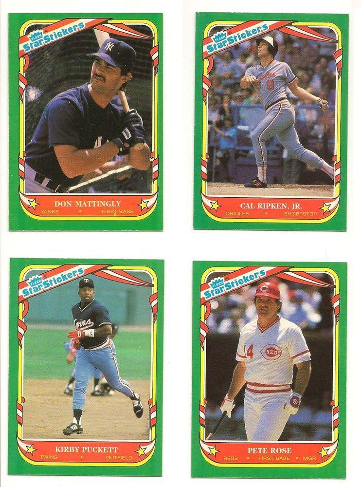 1987 fleer stickers lot no duplicates mattingly puckett