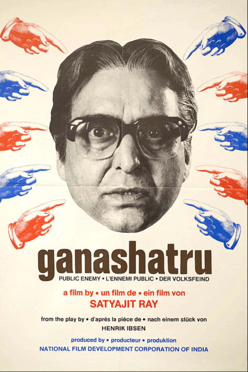 Ganashatru' review: Suddenly, chillingly relevant for our times in 2020 | Satyajit ray, Movie posters, Film