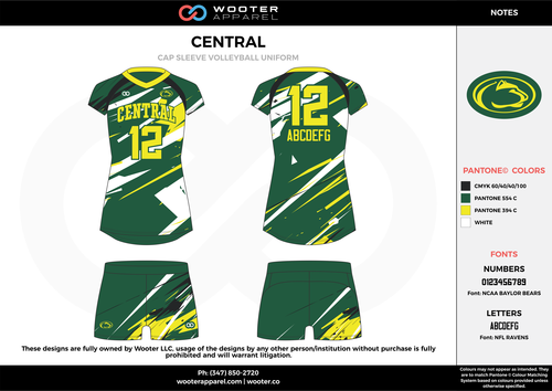 Central Black Green Yellow White Volleyball Uniforms Jerseys Shorts Volleyball Jerseys Volleyball Outfits Volleyball Designs