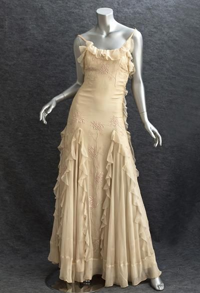1930s evening dress.chiffon evening dress,