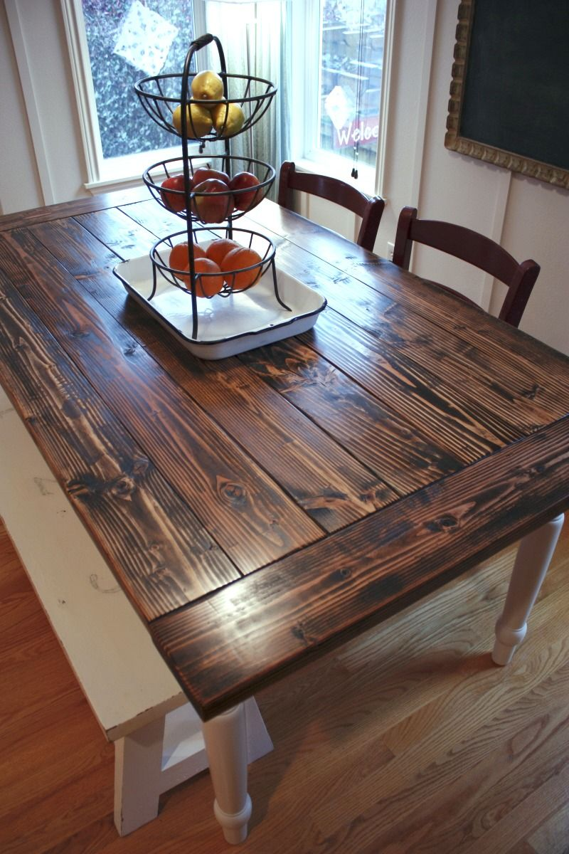 Pretty Farmhouse Table. Dark mixed with off white bench