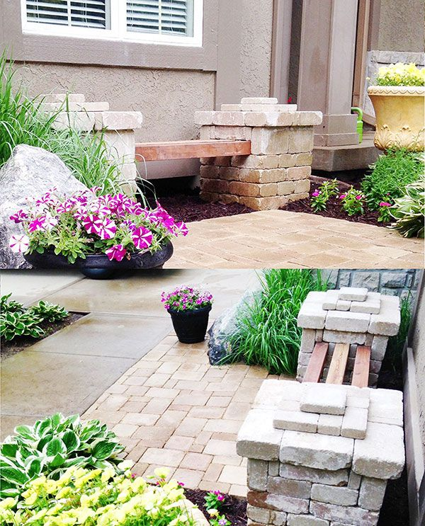 DIY Paver Stone Bench With Concrete Foundation