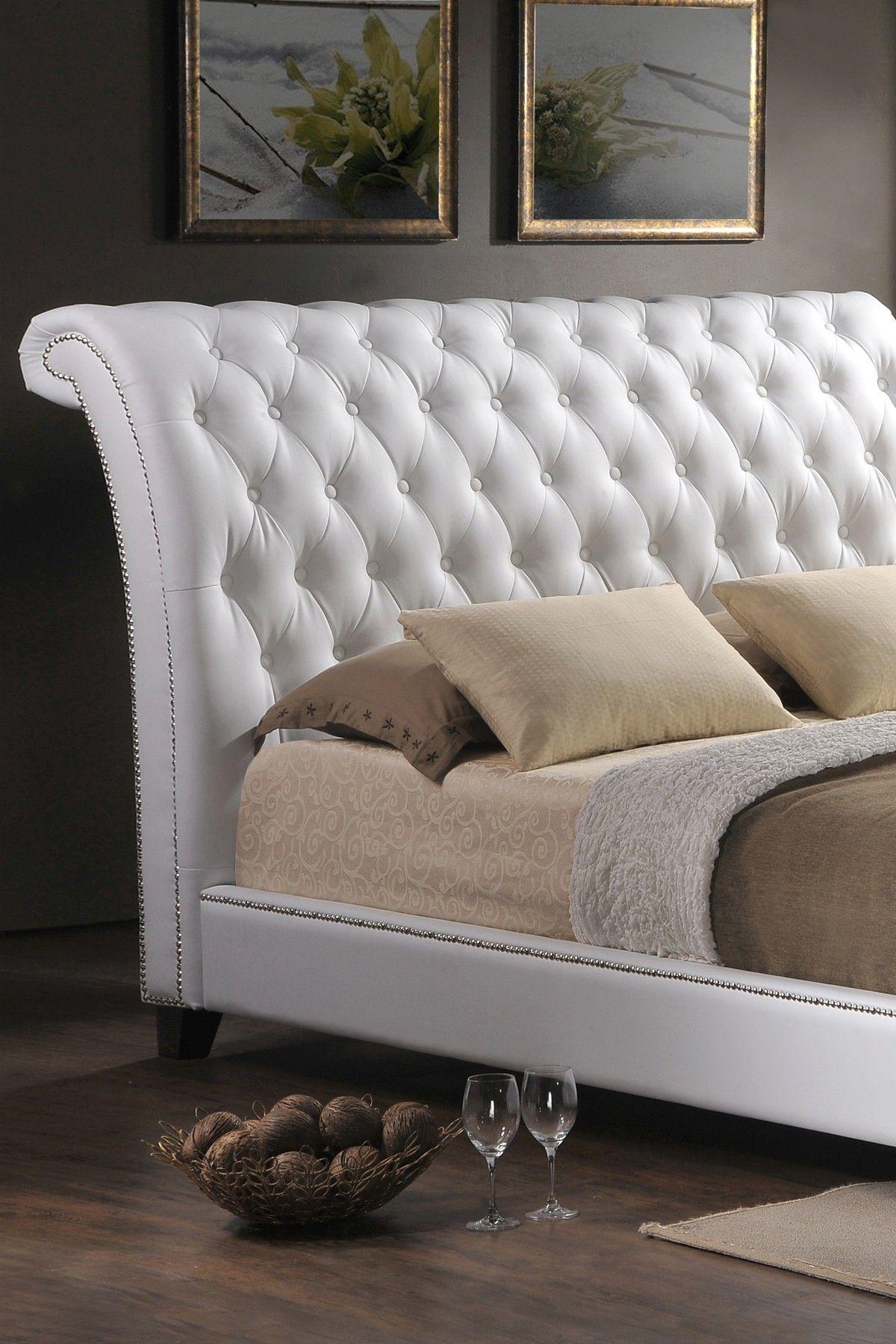 Wholesale Interiors Jazmin Tufted White Modern Bed Upholstered