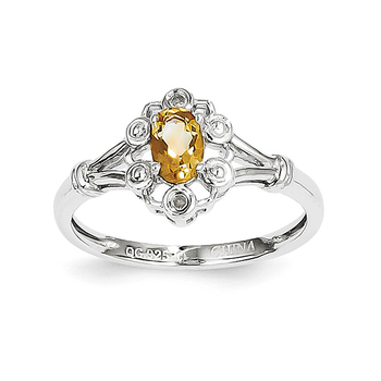 925 Sterling Silver Oval Citrine and Diamond Fancy Flower Set Ring