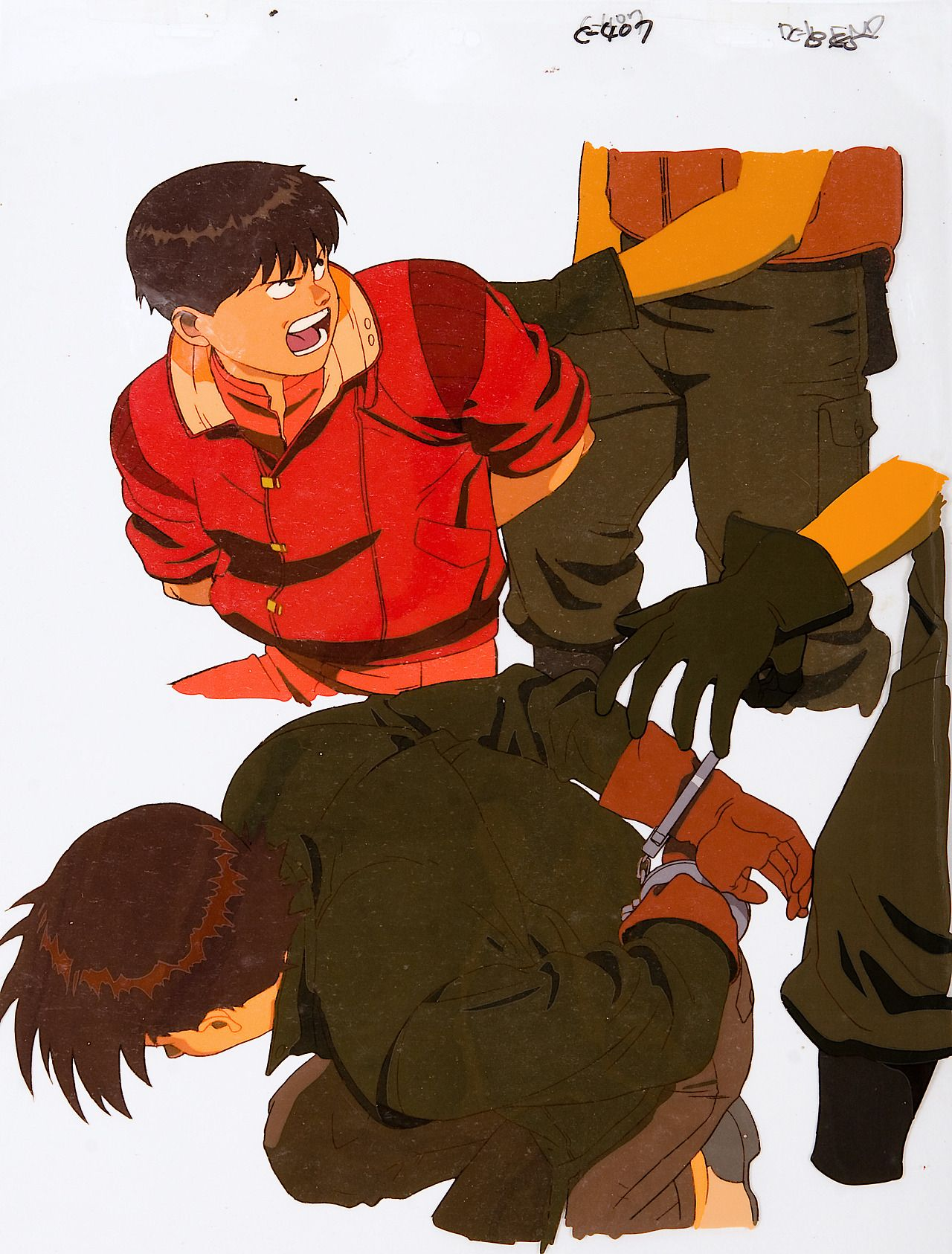 Akira 1988 Oversize End Cel 435mm X 350mm Kaneda And Kaisuke Are Arrested By Government Troops In Pursuit Of Takashi Akira Anime Akira Character Art