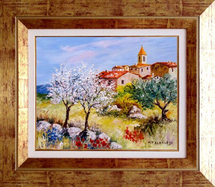 tableau peinture tableaux de provence amandiers olivier paysage de provence art en provence. Black Bedroom Furniture Sets. Home Design Ideas