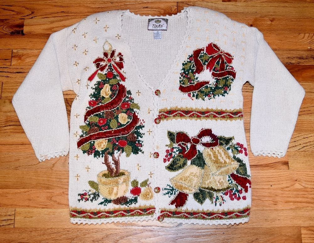 TIARA Big Ugly Tacky #Christmas Cardigan #Sweater M #fashion #style #holiday #ebay @eBay http://ow.ly/URASV