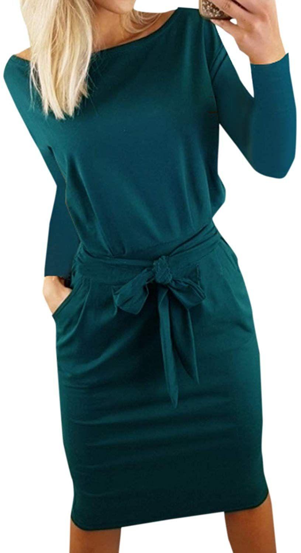 ajpguot damen freizeit kleid mit gürtel elegant rundhals