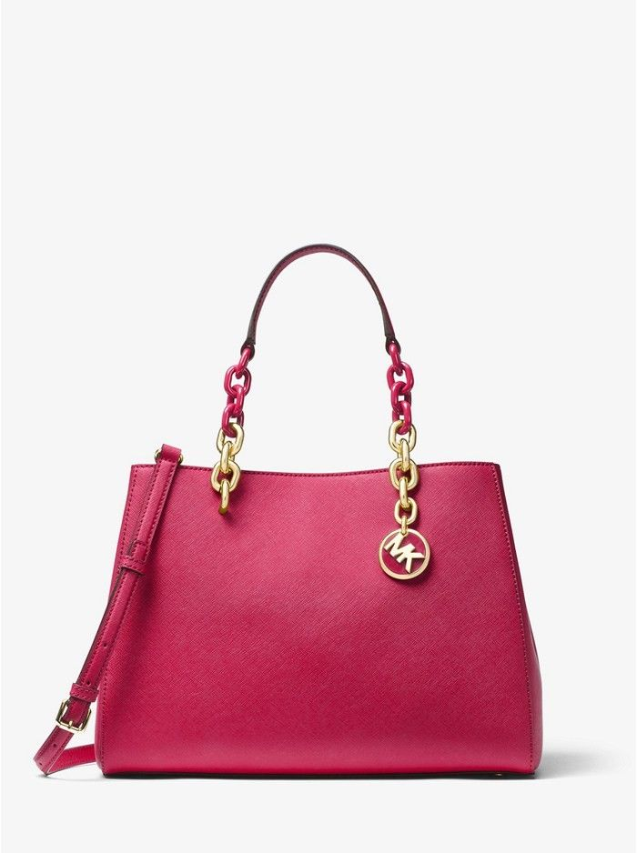 2622e5ee13bb1 Michael Kors Cynthia Saffiano Leather Satchel Cranberry Online ...