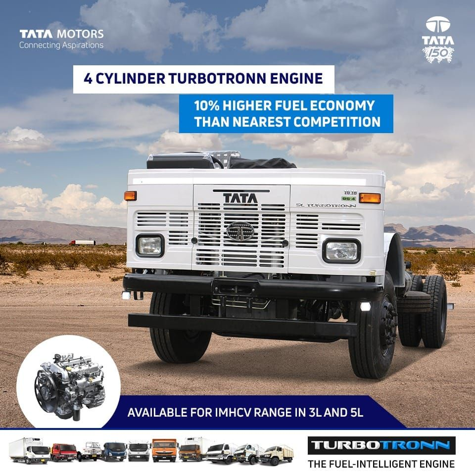 The 4 Cylinder Turbotronn Engine Is Now Available In Imhcv Range In 3l And 5l Its Improved Fuel Economy Is Sure Automobile Companies Fuel Economy Tata Motors