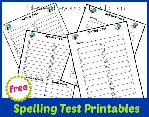 FREE Spelling Test Printables Homeschool, Free and Language arts - spelling test template