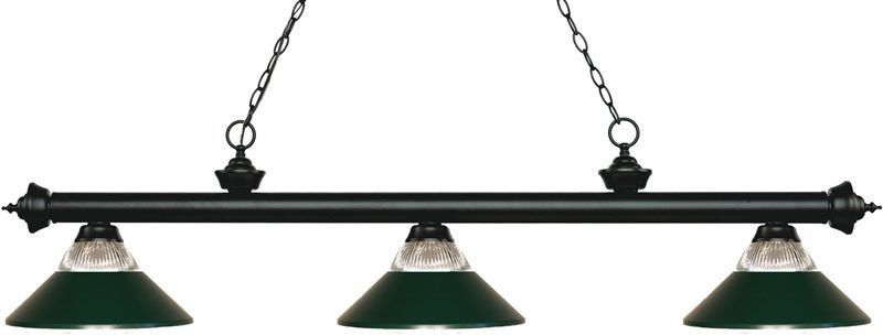 Z-Lite 200-3MB-RMB 3 Light Billiard Light Riviera Matte Black Collection Clear Ribbed Glass and Matte Black Finish