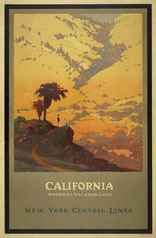 California America/'s Vacation Vintage United States Travel Advertisement Poster