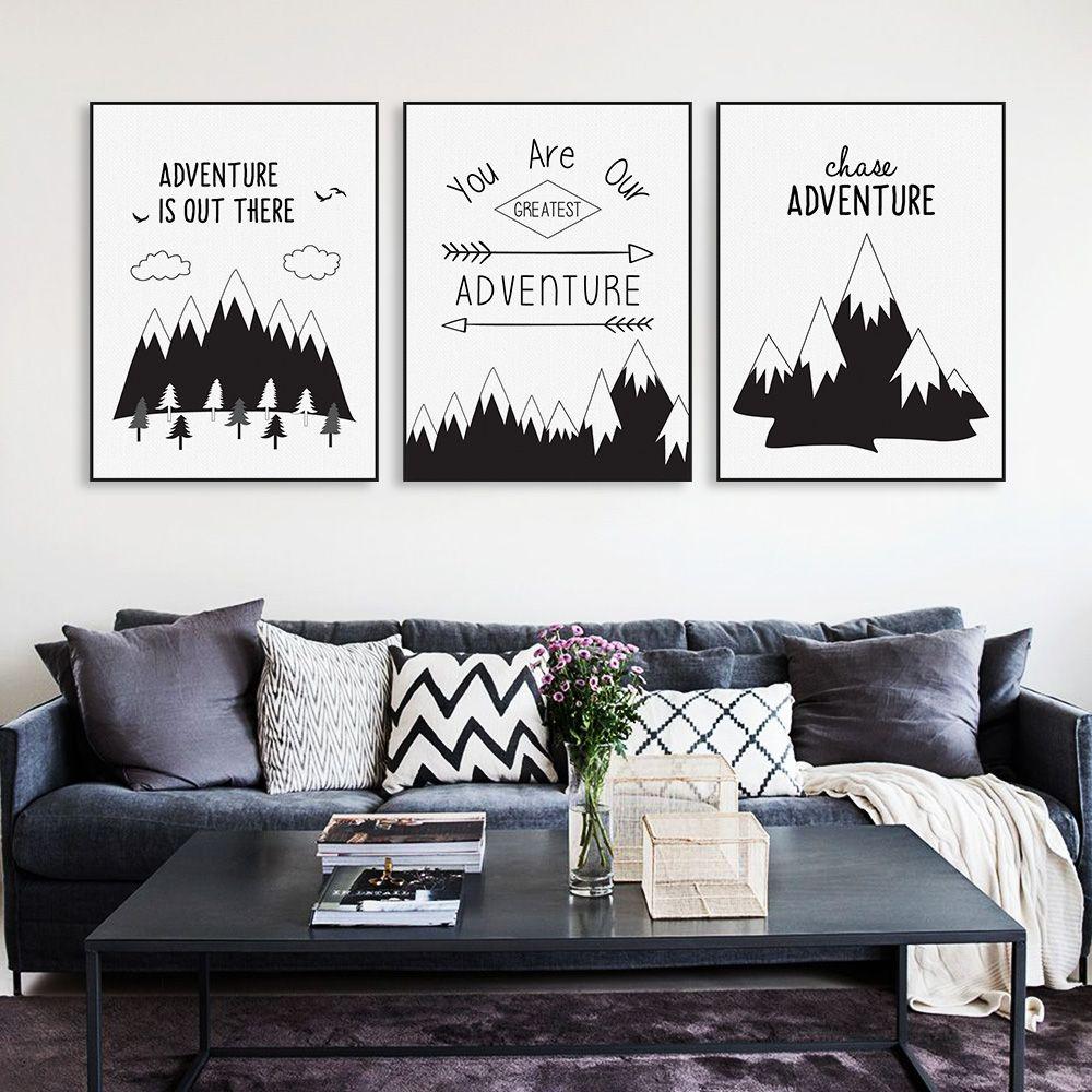 Morden Black White Nordic Adventure Mountain Typography Quotes A4 ...
