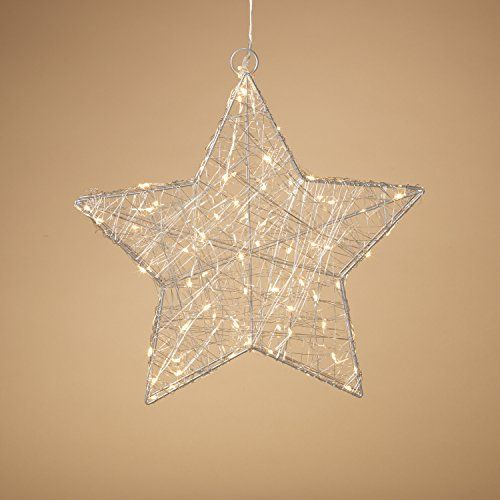 Large Silver Wire LED Lighted Metal Holiday Star Christmas ...