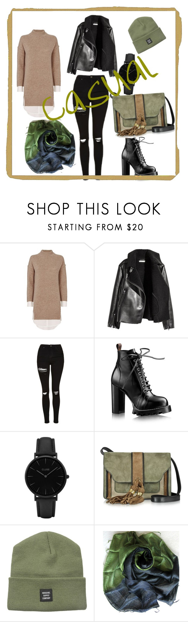 """""""Casual"""" by ec300 ❤ liked on Polyvore featuring Brochu Walker, H&M, Topshop, CLUSE, L'Autre Chose and Herschel Supply Co."""