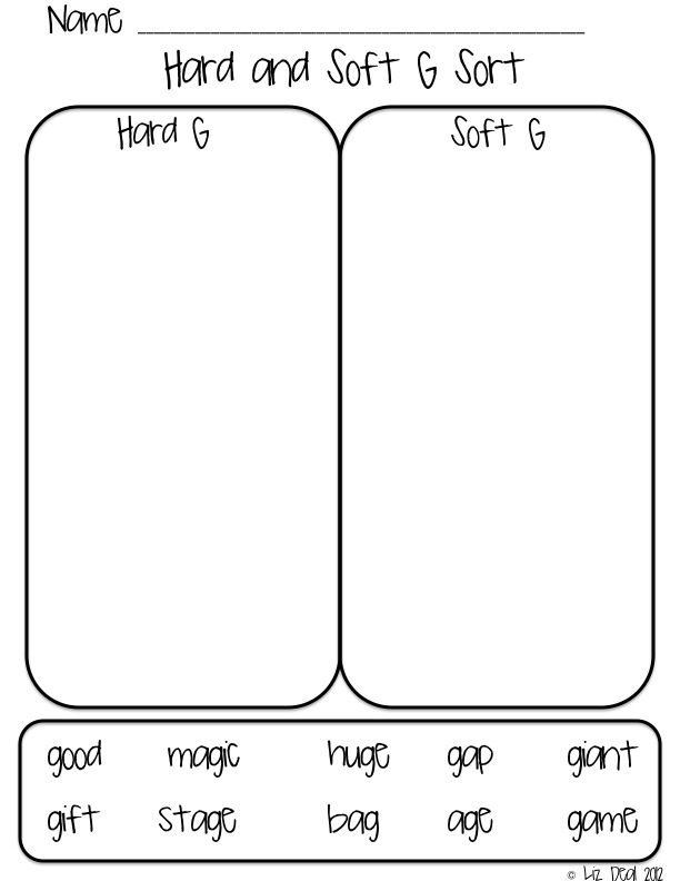 Worksheets Soft G Words Worksheets hard c vs soft and g sound sorting activity polka dot firsties g