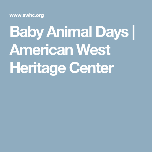 Baby Animal Days | American West Heritage Center