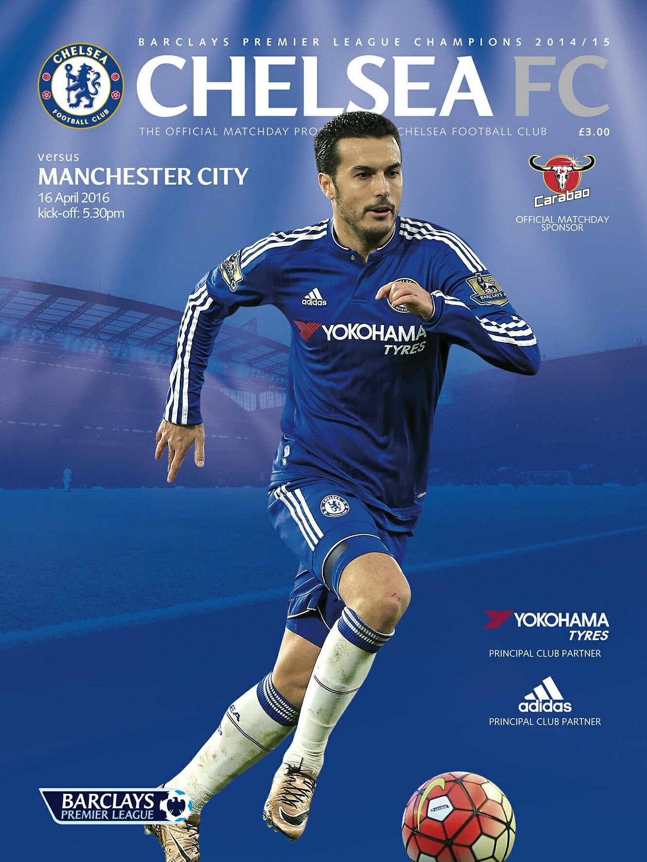 Chelsea 0 Man City 3 in April 2016 at Stamford Bridge. The