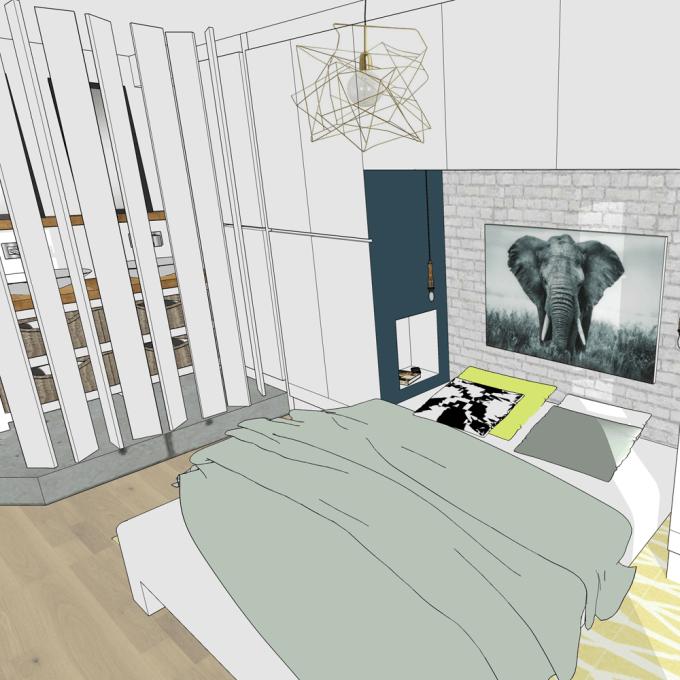 Laura Sarperi - Chambre avec sa salle d\'eau semi-ouverte et ses ...