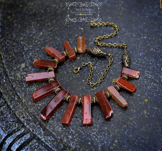 Red beaded  necklace with natural carnelian by merinaaccessories