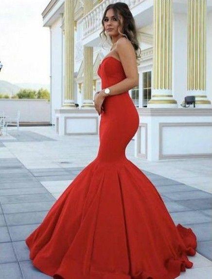 Schlichte Abendkleider Lang Rot Günstig Meerjungfrau Abendkleid ...