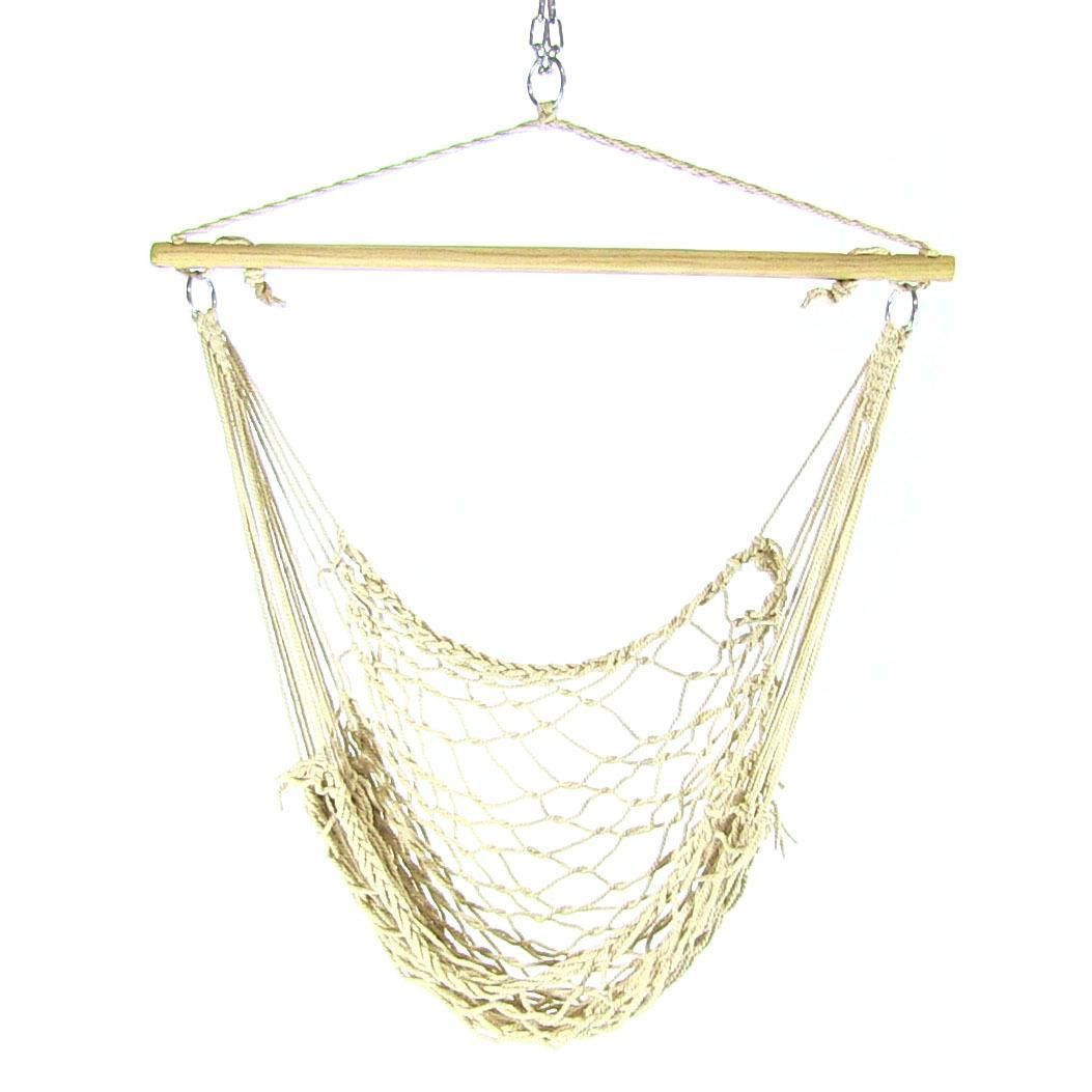 Sunnydaze cotton rope hammock chair with wood spreader bar hammock