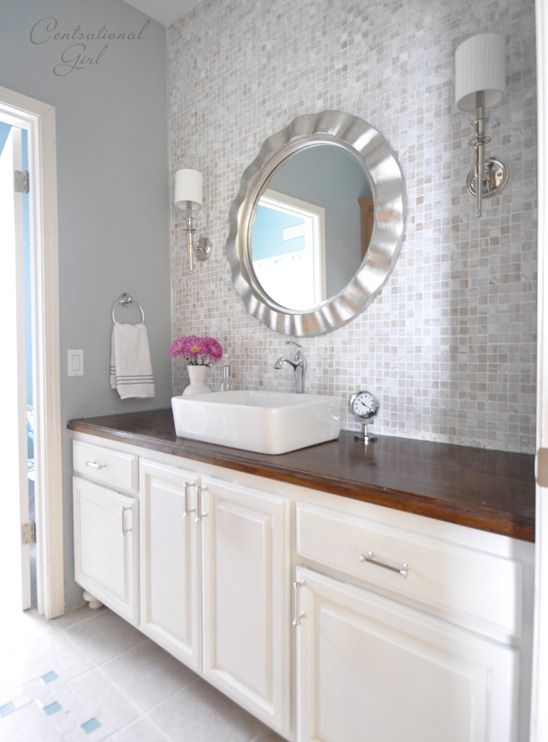 bathroom vanity wall makeover Say with lowes stock cabinets