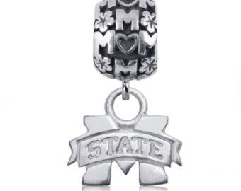 Mississippi State Sterling Silver Mom Charm Bead