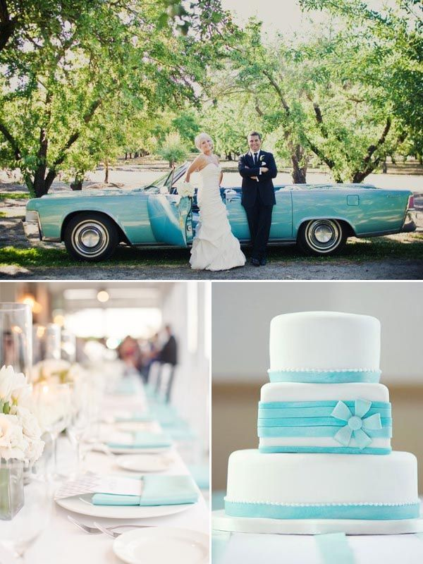 Tiffany Blue Hochzeit Inspiration Blau Auto Hochzeitstorte und ...