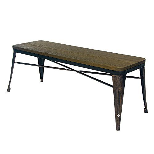 Merax Stylish Distressed Dining Table Bench With Wood Seat Panel And Metal Legs Golden Black Re Distressed Dining Table Dining Table With Bench Bench Table