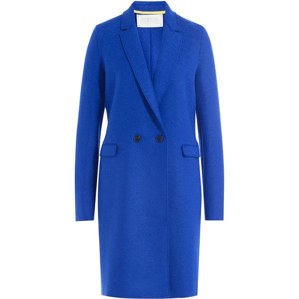 Harris Wharf London Virgin Wool Coat (2,565 CNY) ❤ liked on Polyvore featuring outerwear, coats, blue, lapel coat, slim coat, slim fit coat and blue coat