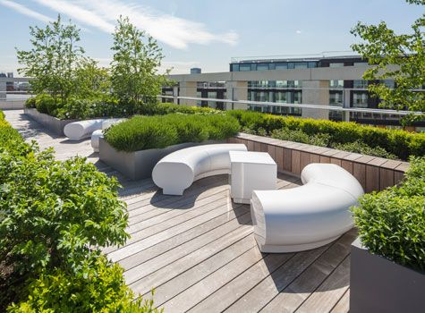Perfect Halo White Seating   Kings Cross, Pancras Square, London Roof Top Garden