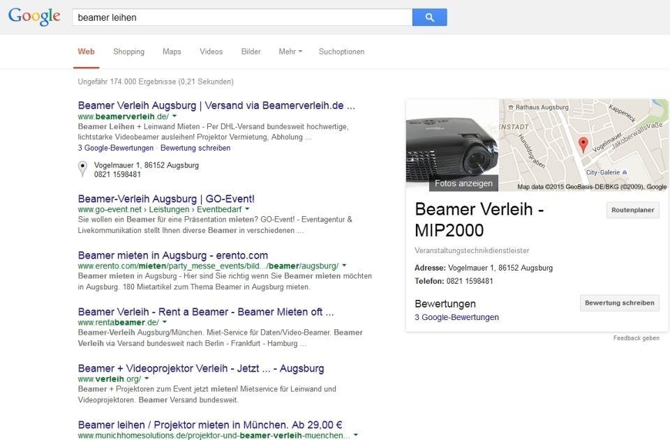 Google Suche - SERP | Beamer mieten zur Fussball WM oder sonstige ...