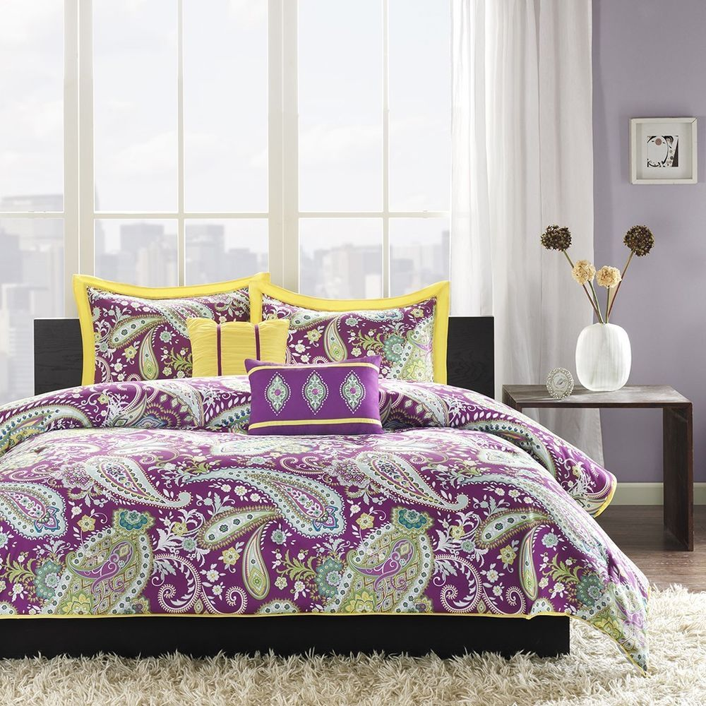 New Bed Bag Twin Xl Full Queen 5 Pc Purple Yellow White Paisley Comforter Set Unknown