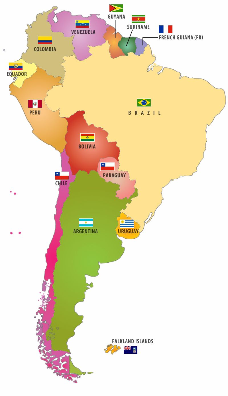 f8a6eedb2c8 Flags of South American Countries I like this map  pair it with that  irritating song on youtube and all the countries will be memorized in a  couple of days.