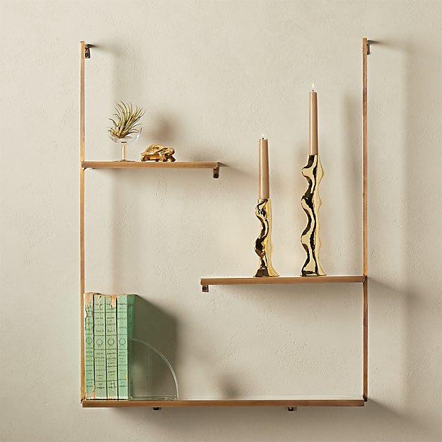 Spirit Brass Floating Ladder Shelf Decor Modern Wall Decor Shelves
