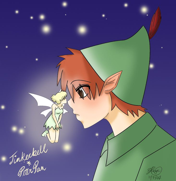 Peter Pan And Tinkerbell Kissing Peter Pan And Tinkerbell